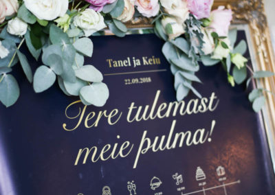 Tulivee Rannarestoran, pulmad eestis, rannapulm, pulmakorraldaja, pulmakorraldus, peokoht, pulmapidu, lilleseaded, runner, nimesildid, lauaplaan, tulivee,